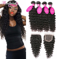 Brazilian Virgin Hair With Closure 4 Bundlles Brazilian Deep Wave With Closure Curly Brazilian Hair Weave Bundles With Closure