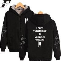 LUCKYFRIDAYF 2018 BTS LOVE YOURSELF Wonder Print Kpop Winter Thicken Hoodies Zipper Hoodies Women Warm Sweatshirts