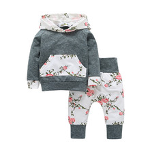 children baby clothing sets Gray 2pcs Toddler Baby Boy Girl Clothes Set Floral Hooded Sweater Trouser Hoodie Tops+Pants Outfits