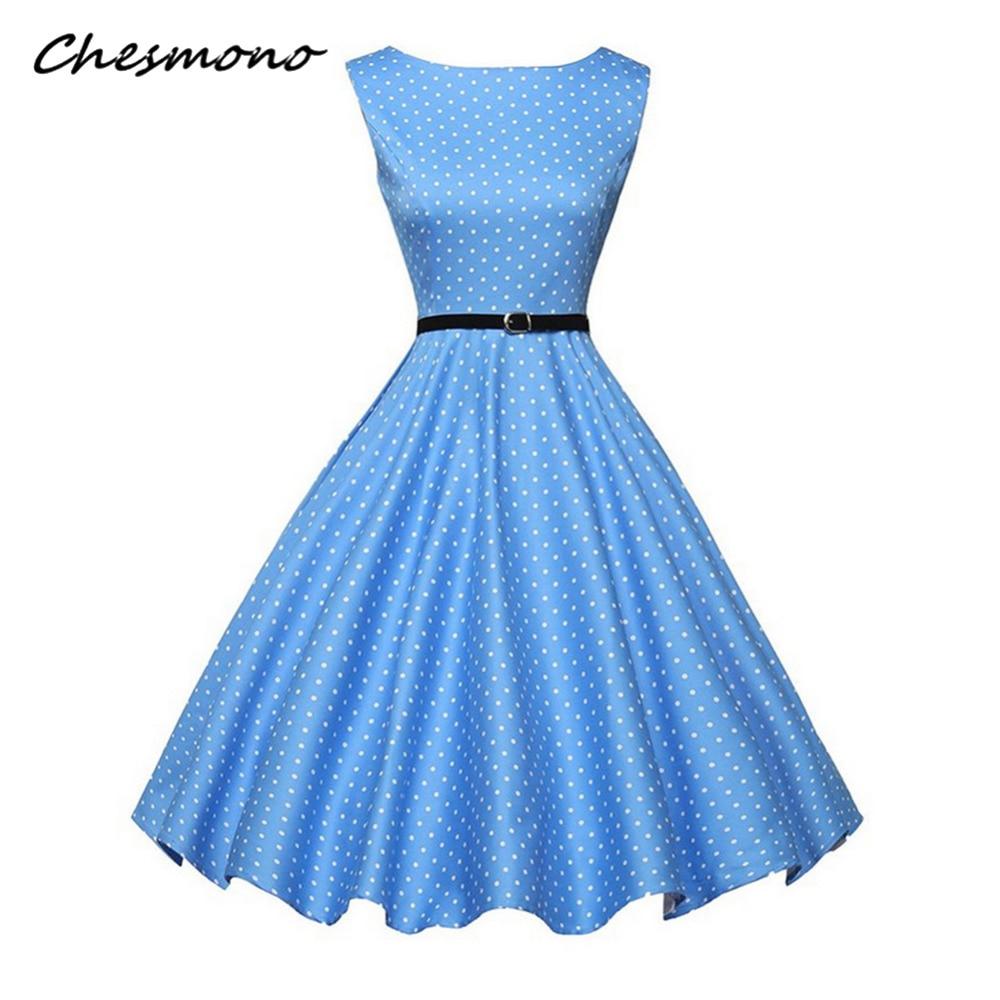 09c3378b2dd В Горошек Для женщин ретро Винтаж платье с бантом элегантные Хепберн Стиль  без рукавов Для летних