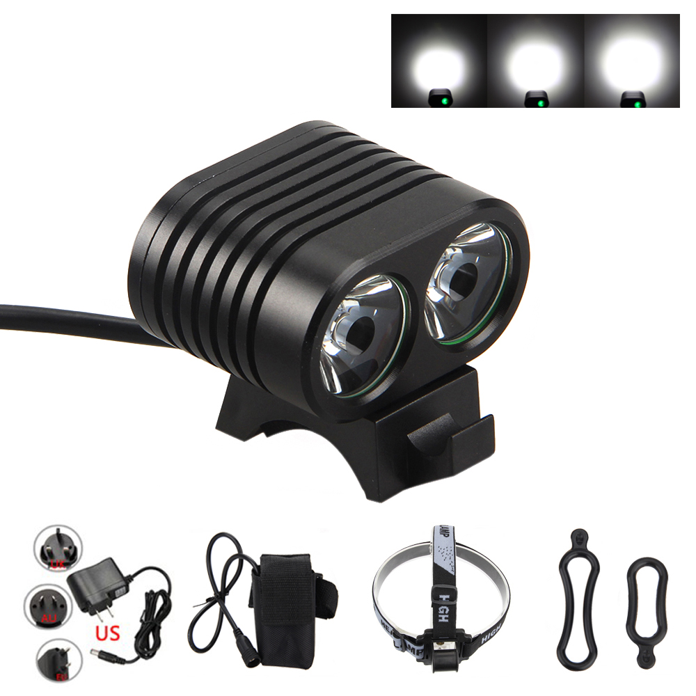5000 LM 2x T6 LED Head Front Bicycle Light 2 in 1 Bike Headlamp Cycling Torch with 4x18650 Battery Pack Bike Accessories