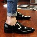 LIN REY Estilo Británico Hombres de Charol Zapatos de Vestir Punta estrecha hombres de Trabajo Zapatos de La Boda Para Hombre Delgado de Negocios Zapatos Bajos Del Talón