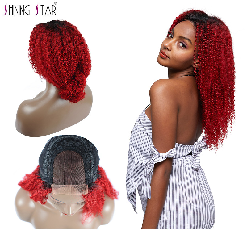 Ombre 1B Red Lace Front Wigs Shining Star Colored Peruvian Kinky Curly Human Hair Wigs For