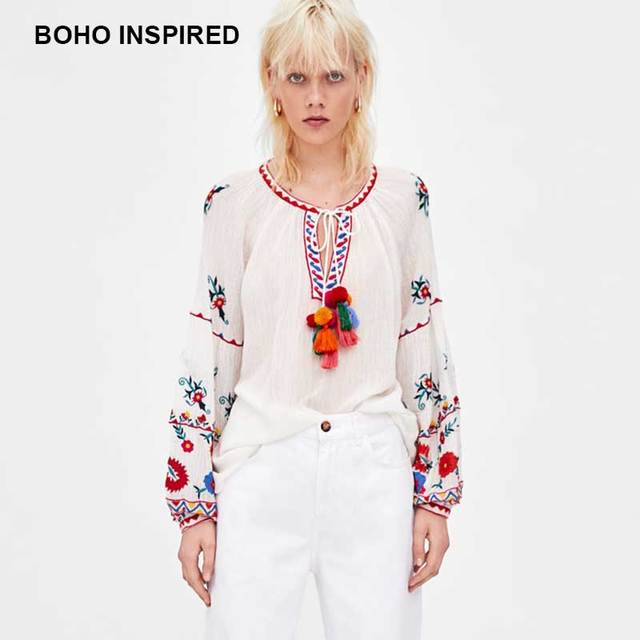 bfdc8efbfdd BOHO INSPIRED COLOURED EMBROIDERY blouses shirts long puff sleeves ties  with tassels pompoms summer women tunic tops 2018 blusas