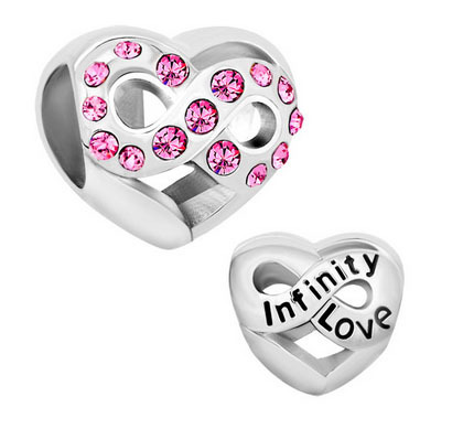 2016 NEW Infinity Heart Love With Pink Crystal For Beads Charms Bracelets Fit All Brands suitable for Pandora charm bracelets