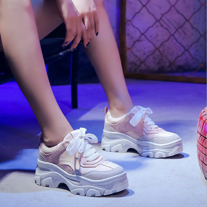 2019 Brand High Quality Sneakers Shoes lady / Women's Fashion Casual Thick Soled Female Lace Up Platform sneaker shoes LG 87