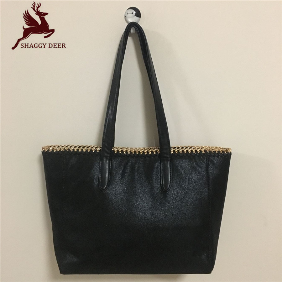 2017 Luxury Shaggy Deer Brand Golden Chain PVC Suede Tote High Quality Shoulder Stella Handbag mini gray shaggy deer pvc quilted chain bag with cover real picture