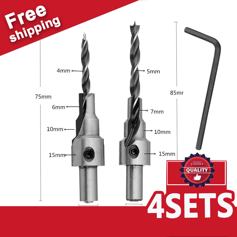 4 Set Countersink Drilling Pilot Drill Bits Set Reamer Screw Wood Window Hinge Hole Saw Chamfer 4 6 5 7mm steps 8mm Shank Tool