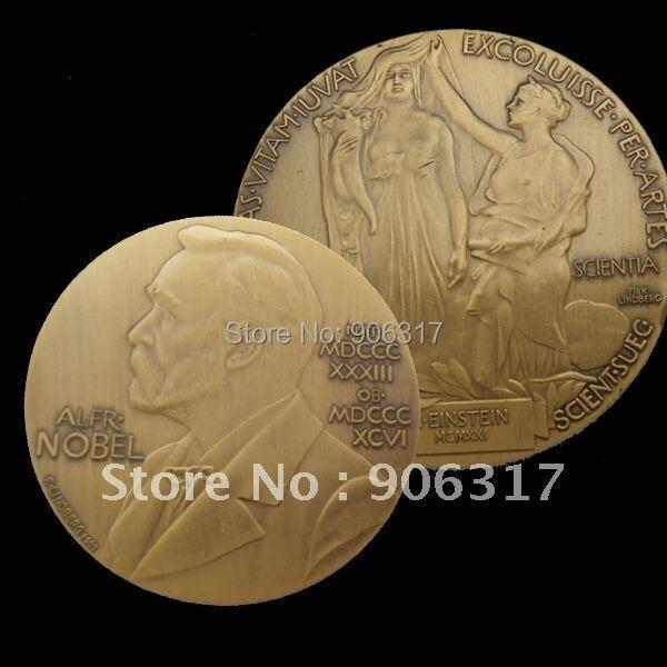 High Quality  Albert EINSTEIN ALFRED NOBEL SOUVENIR MEDAL BRONZE Plated 5pcs/lot