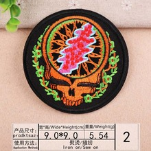 DOUBLEHEE Size 9CM*9CM Skull Circular Patch Embroidered Patches For Clothing Iron On Close Shoes Bags Badges Embroidery