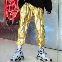 personality trousers mens pants Shrinking metal color glossy harem pant feet fashion street novelty gold silver