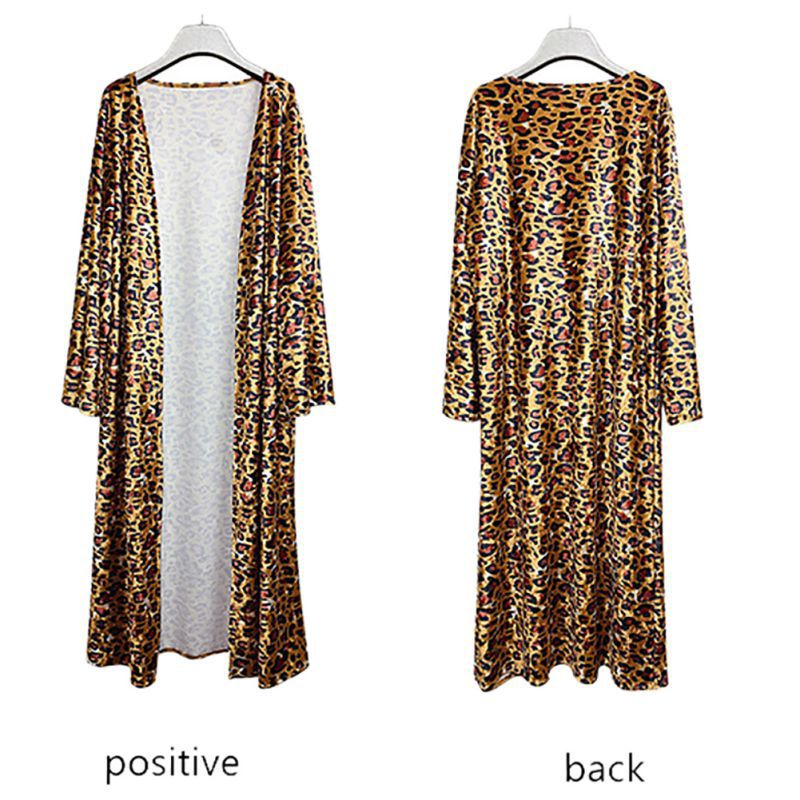 Women's Leopard Pattern Open Front Cardigan   Trench   Long Sleeve Classic Sexy and Elegant Long   Trench