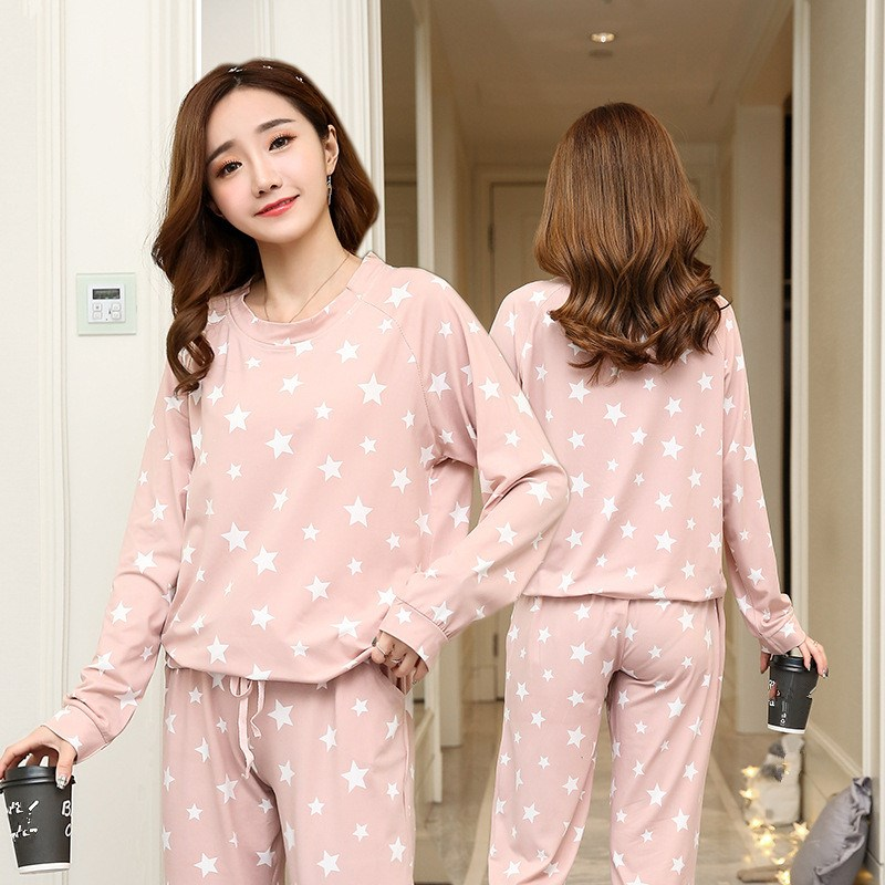 Stars Print Pullover And Pants   Pajama     Set   Pink Long Sleeve Round Neck Casual   Pajama     Set   Night Sleepwear Women Lounge
