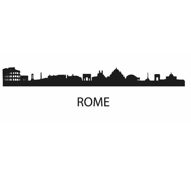 Rome city decal landmark skyline wall stickers sketch for Wall stickers roma