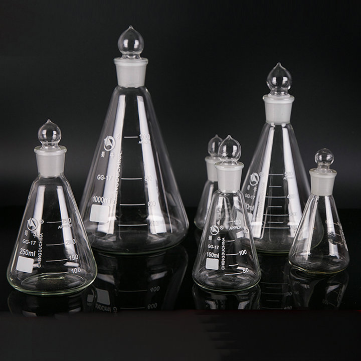 1pc 50ml to 1000ml Glass erlenmeyer flask, conical flask bottle with ground-in stopper for lab glassware 11 to 22 rubber stopper erlenmeyer flask plug bottle stopper test tube stopper