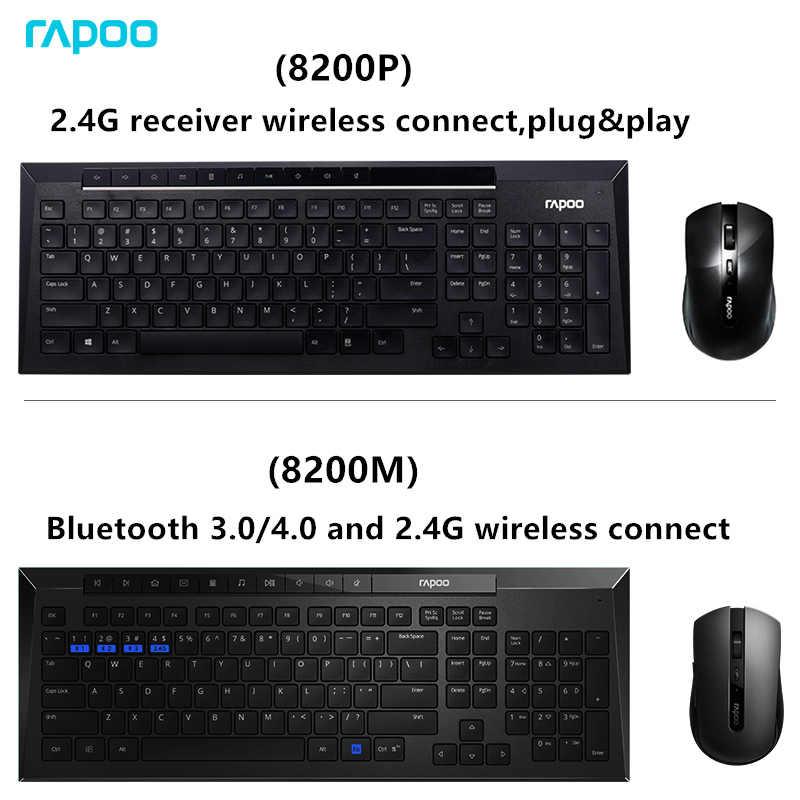Rapoo マルチメディアワイヤレスキーボードマウスコンボファッショナブルな超薄型 Whaterproof サイレントマウスコンピュータの Pc テレビ