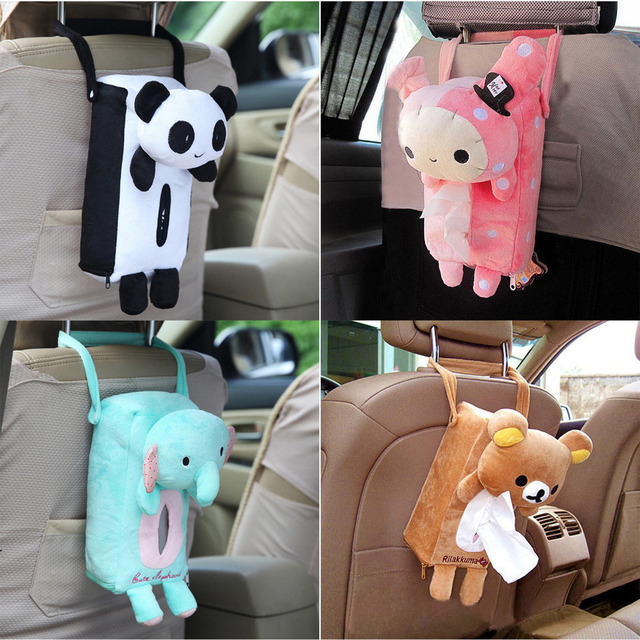 4 Colors Cute Animal Car Tissue Holder Back Hanging Tissue