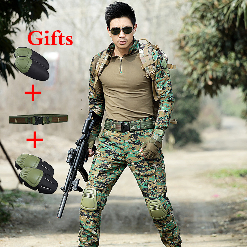 Sensibile Esercito Ghillie Suit Shirt Con Gomitiere Tattico Pantaloni Con Ginocchiere Militare Formazione Uniforme Da Combattimento Del Camuffamento Di Caccia Suit Vendite Economiche 50%
