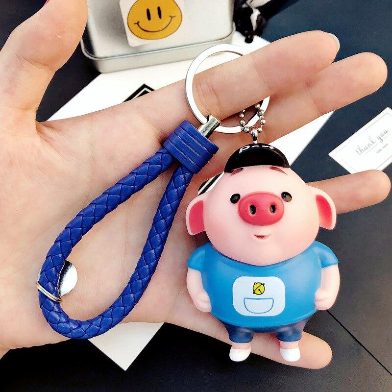 Cartoon Fluffy Rabbit Fur Pom Pom Cute Animal Love Pig Keychain Doll Bell Pompons Key Ring Women Car Purse Key Chains Trinkets in Key Chains from Jewelry Accessories