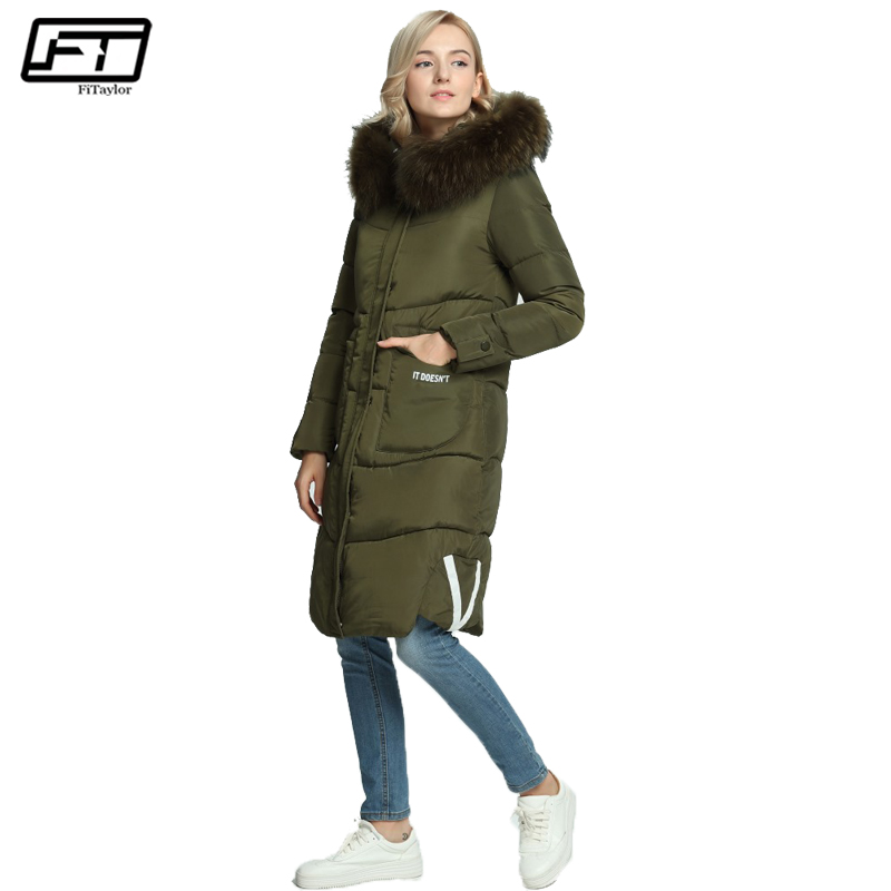 Fitaylor winter jacket women 2017 loose hooded faux Big Fur collar Letter print ladies parka plus size thick long overcoats coat plus size letter print hooded sweatshirt dress