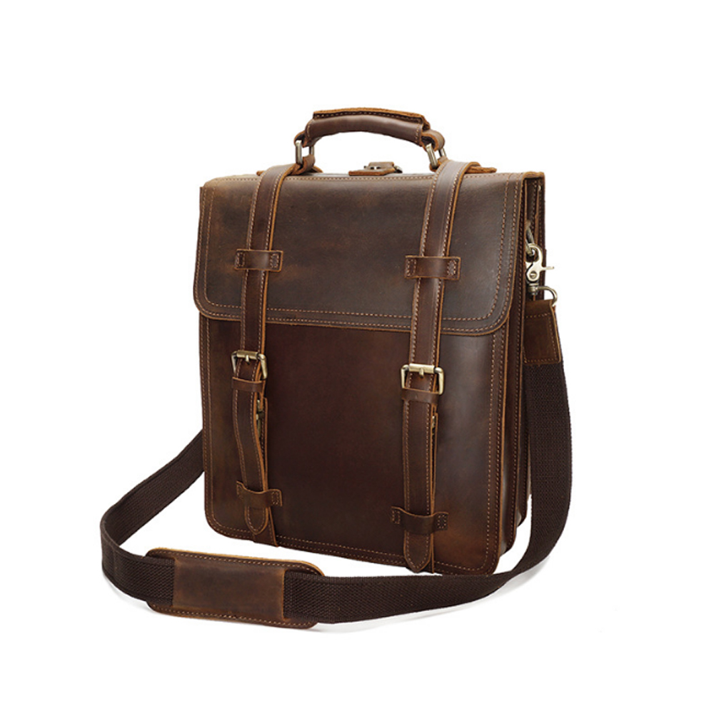 Cooperative Fashion Genuine Leather Backpack Vintage Dark Brown/brown 14 Inch Computer Package Hand Made Mans Cowhide Knapsack Men's Bags