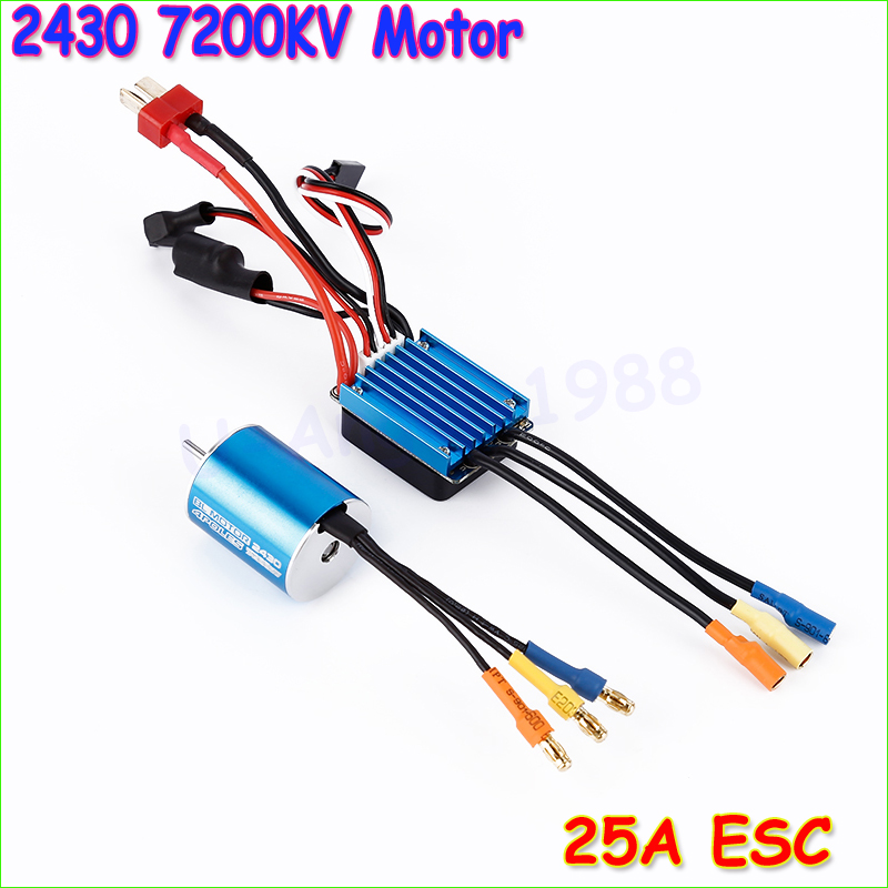 New 2430 7200KV 4P Sensorless Brushless Motor with 25A Brushless ESC Electric Speed Controller for 1/16 1/18 RC Car Truck 2435 senseless brushless 4800kv motor 25a esc for 1 16 18 rc car