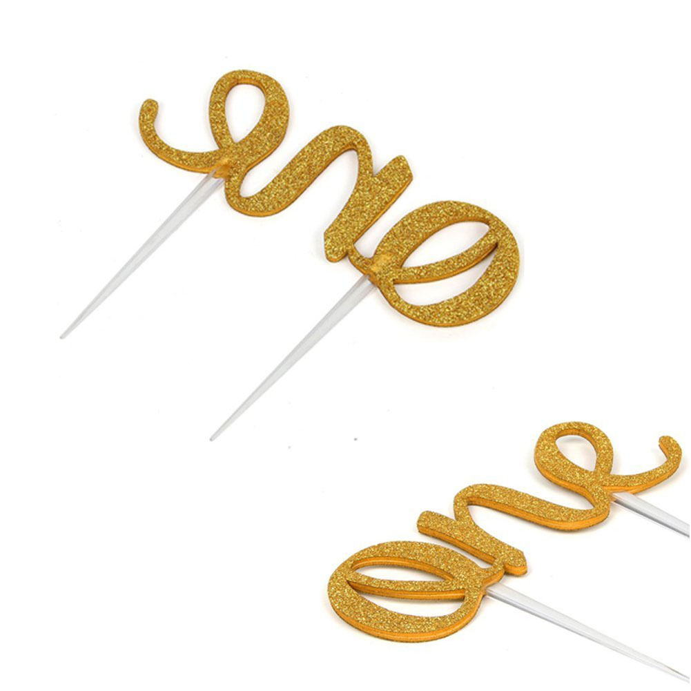 Custom Bow Gold Glitter ONE Cake Inserted Card Cupcake Toppers Picks,Baby Shower/Kids First Birthday Party Favors Decoration