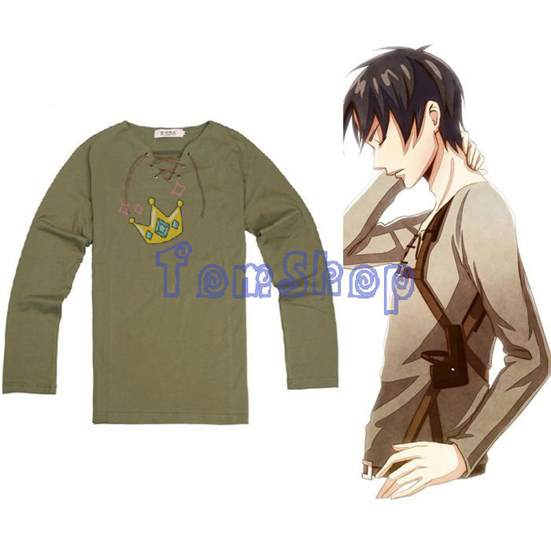 Anime Attack on Titan Shingeki no Kyojin Eren Cosplay Costume Unisex Long Sleeve T-shirt Tops Tee Shirts