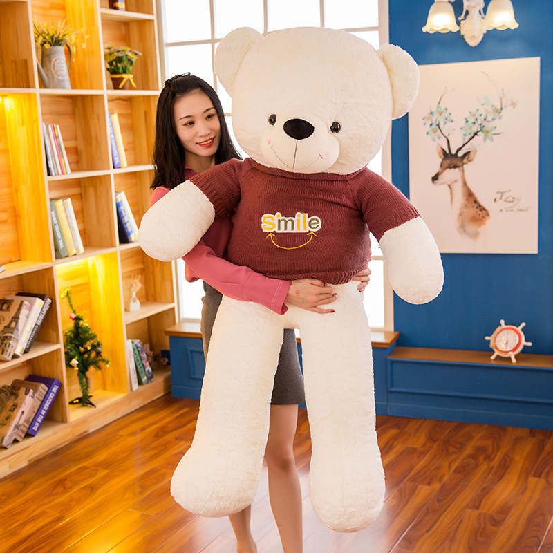 130CM Giant Sweater Teddy Bear Doll Plush Toy LARGE size bear doll doll girl birthday gift big bear Girlfriend gift R042 teddy bear big bear doll white bear plush toys birthday gift life size teddy bear soft toy