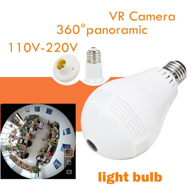 wireless ip bulb VR 360 Fisheye Panoramic light  Camera network led wifi light bulb camera vr 360 degrees wifi3d fisheye panoramic light camera network led