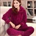 Otoño e invierno coral polar ropa de noche mujeres espesan franela pijama, 100% algodón conjunto de manga larga salón