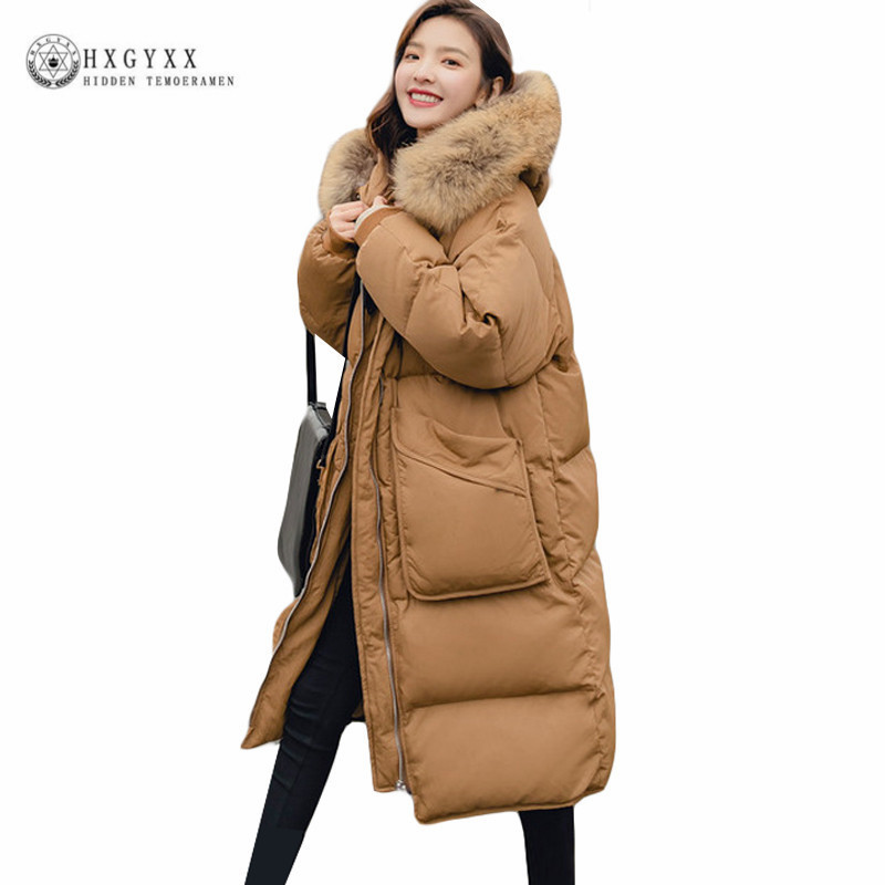 2018 Winter Jacket Coat Women Casual Long Sleeve Loose Warm Thicken Solid   Parkas   Big Pockets Fur Collar Hooded Outwear Okd267