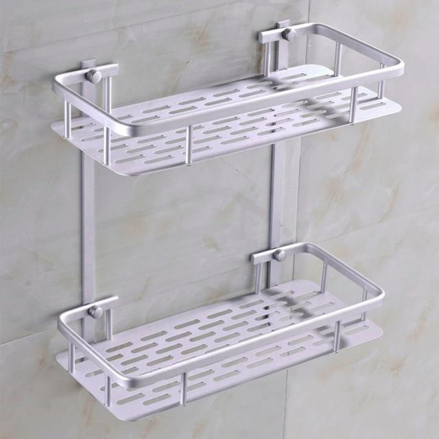 2 Layers Assemble Aluminum Bathroom Toilet Rack Storage Shelf Holder ...