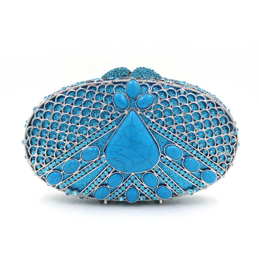 woman designer inspired handbags peacock female evening clutch ladies luxury gift box bag blue party purses rhinestone hand bags