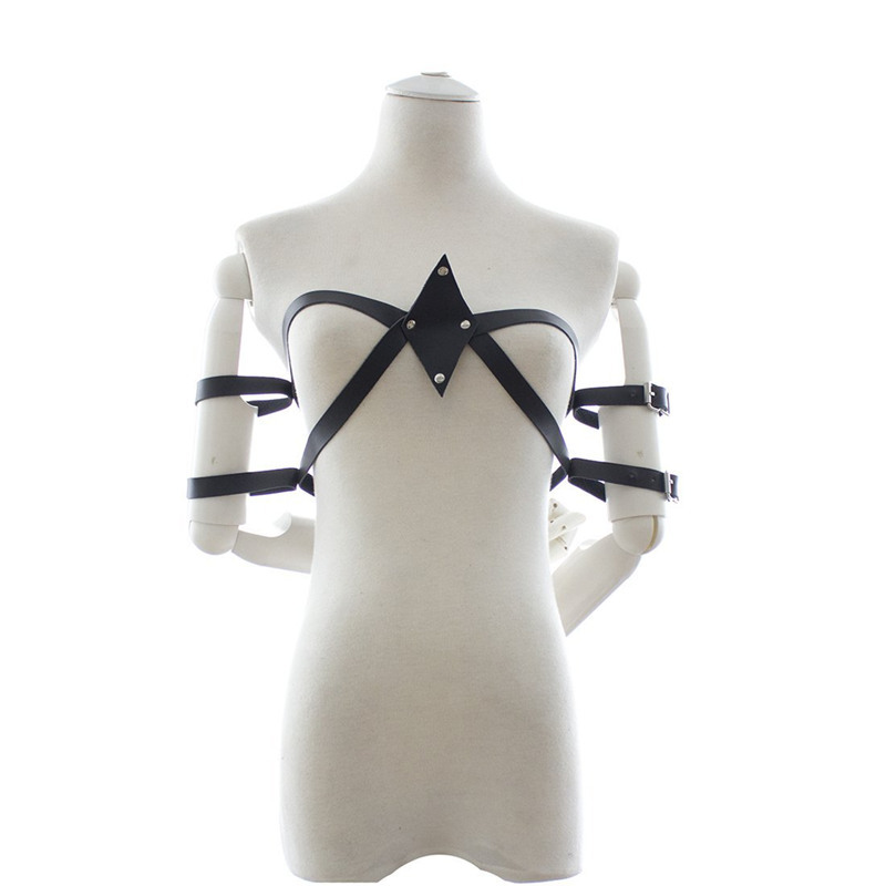Slave Adjustable Arm to Breast Restraints Leather Bondage, Sex Toys For Couples Adult Games