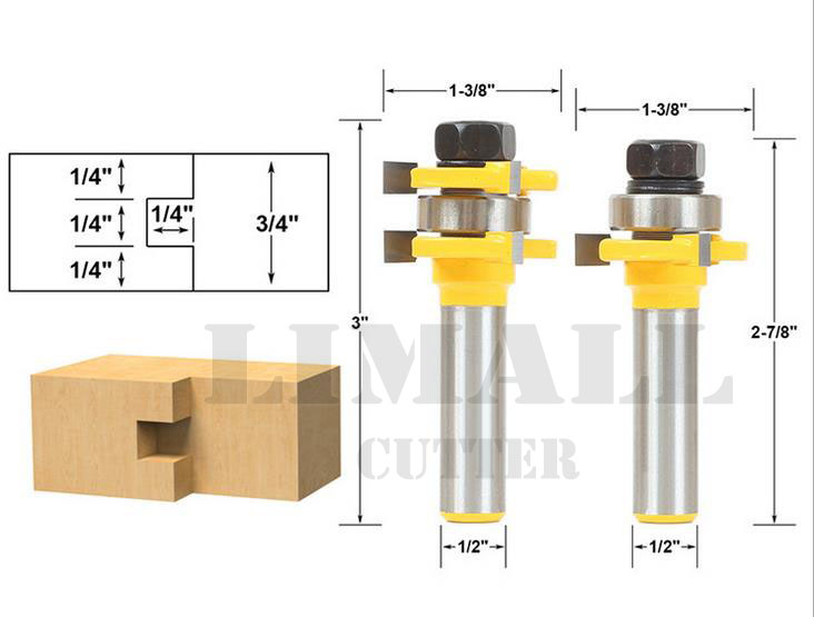 SHK:1/2'' 2Piece/set T Shaped 3Teeths Tenon Cutter Bit Plate Floor Woodworking Milling Cutter