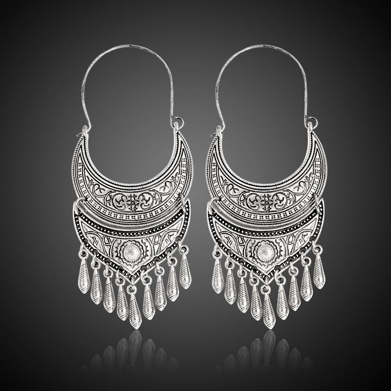 QIHE JEWELRY Forntida Silver Guldfärg Tibetansk Örhänge Boho - Märkessmycken - Foto 2