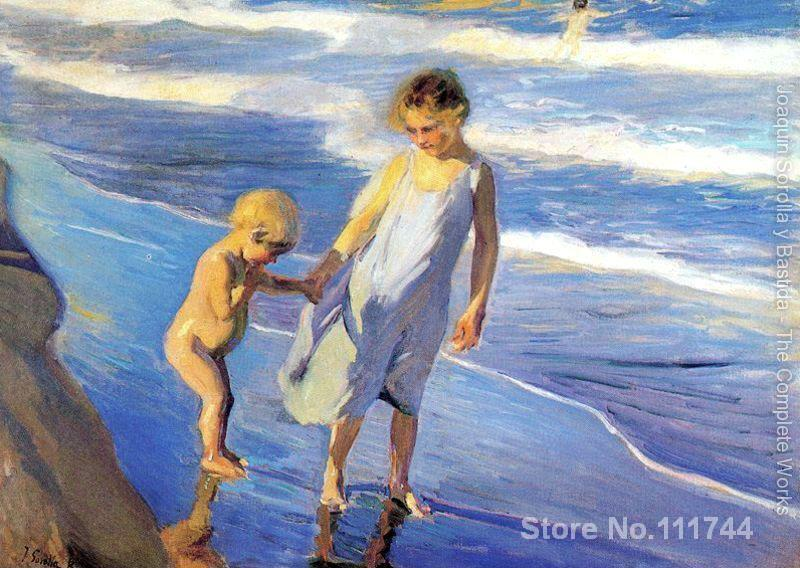 beach scenes Valencia two children on a beach by Joaquin Sorolla y Bastida paintings for home decoration High quality Handmade