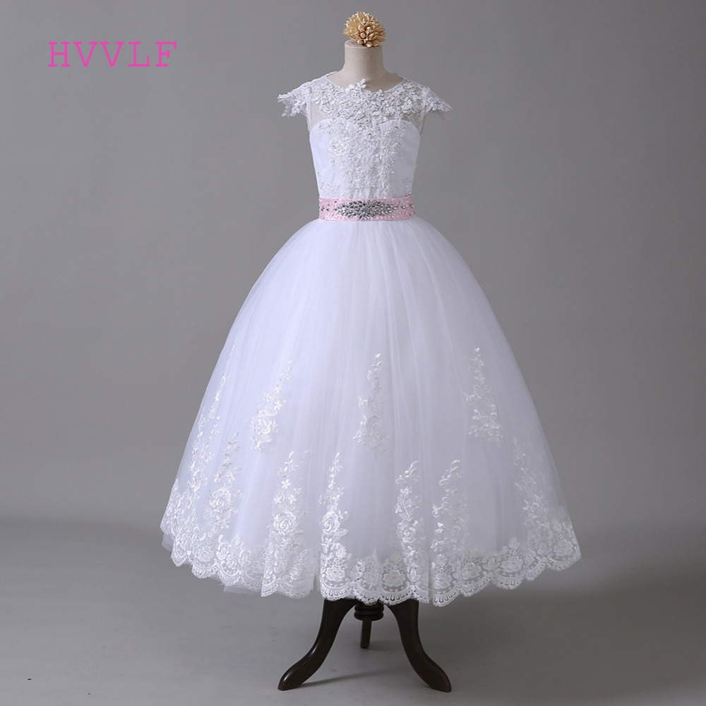 White 2019   Flower     Girl     Dresses   For Weddings Ball Gown Cap Sleeves Tulle Appliques Lace Crystals First Communion   Dresses