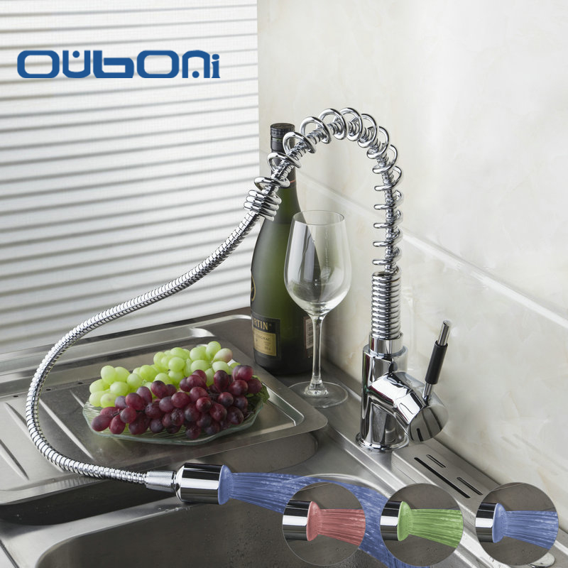 Kitchen Sink Tap Chrome Finish Pull Down Spray LED Kitchen Faucet Spring Hot And Cold Water Mixer Deck Mounted Faucets&Tap