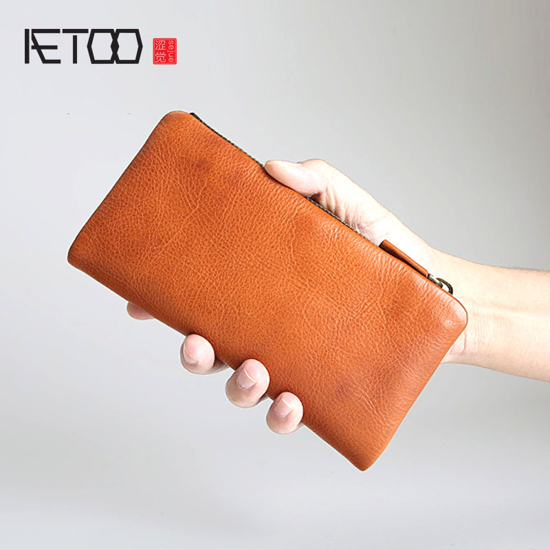 AETOO Handmade vegetable tanned leather long zipper wallet men leather youth first layer wallet men's vintage Europe and the vegetable cowpea and yard long bean