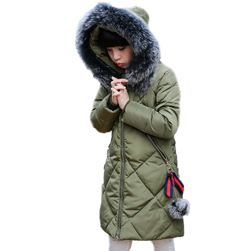 girls winter jackets 2017 new kids coats thicken warm big collar hooded children parka down long section children outwear 4-13T new winter baby girls clothes white duck down parka warm goose down jackets for kid warm long coats big fur hooded for children