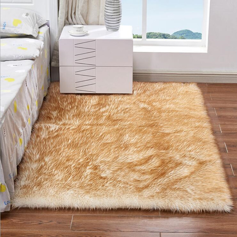 Fashion Soft Home faux Wool Carpet Chair Cover Rugs Artificial Wool Plain Fluffy Rugs Bedroom Blanket Mat For Kids Living Room