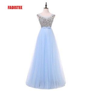 Image 1 - FADISTEE 새로운 도착 럭셔리 긴 스타일 드레스 블링 구슬 장식 tulle 이브닝 드레스 파티 파티 크리스탈 진주 바닥 길이