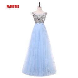 Fadistee nova chegada luxo estilo longo vestidos bling beading tule vestidos de noite baile baile de formatura festa pérolas cristal até o chão