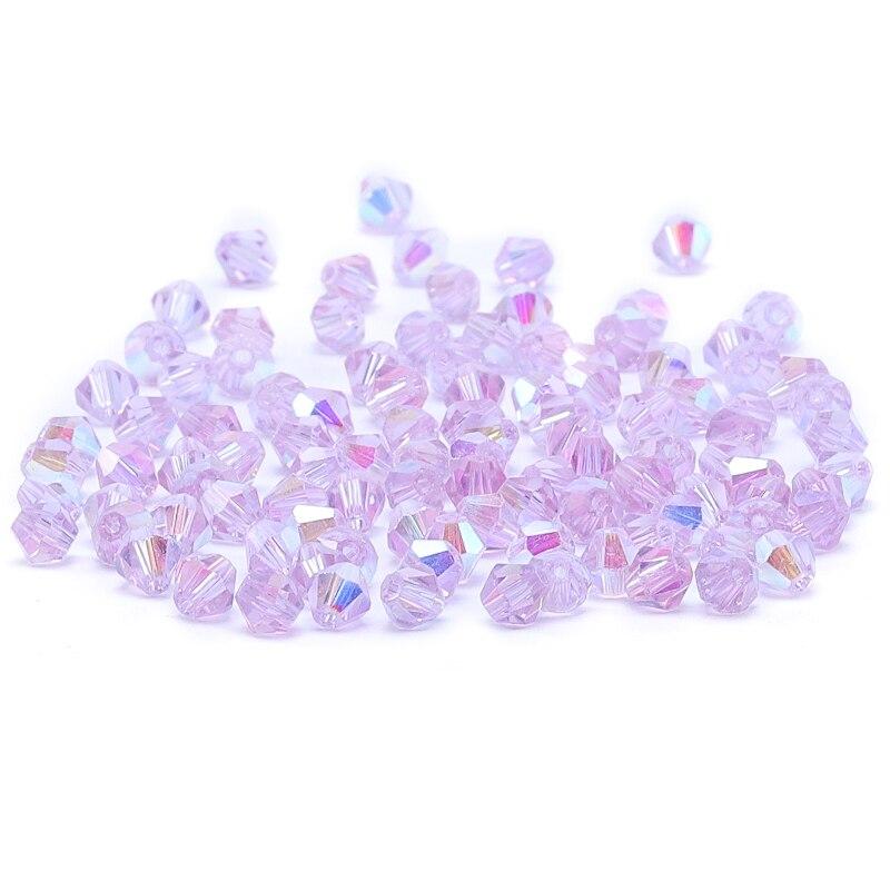 Яркие фиолетовые AB 4 мм 100 шт Австрийские хрустальные биконусные бусины 5301 свободные хрустальные бусы ожерелье браслет ювелирные изделия ручной работы S-61