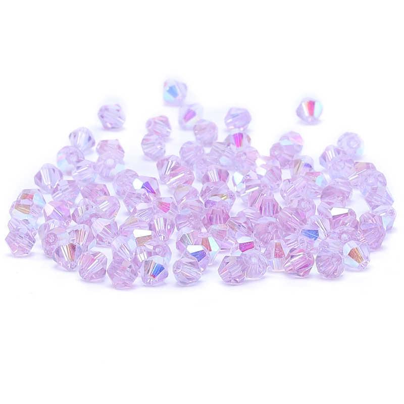 Bright Purple AB 4mm 100pc Austria Crystal Bicone Beads 5301 Loose Crystal Beads Necklace Bracelet Jewelry Handmade  S-61