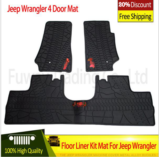 Free Shipping hot sale Black with logo rubber TPE Material Floor Liner Kit Mat For Jeep Wrangler Unlimited JK 4/2 Door 2007-2015
