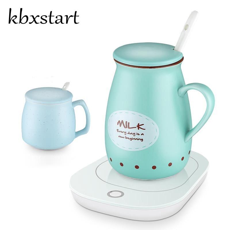 Kbxstart tasse de chauffage électrique Smart café lait chauffe-thé cruche Thermostat thermique tasse en céramique garder au chaud 55 C bon cadeau sain