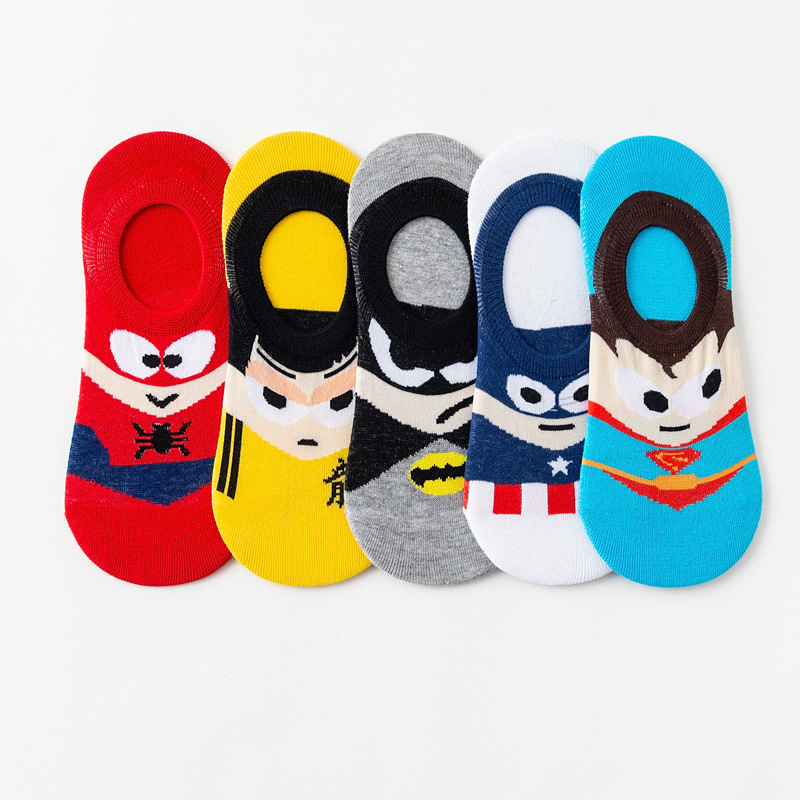 5 Pair/lot Men Ankle Socks Invisible Low Cut Non-slip Silicone Boat Socks Cartoon Summer Short Socks Batman Superman SpiderMan